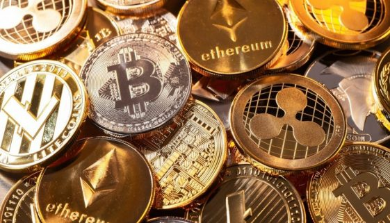 Coins of various cryptocurrencies
